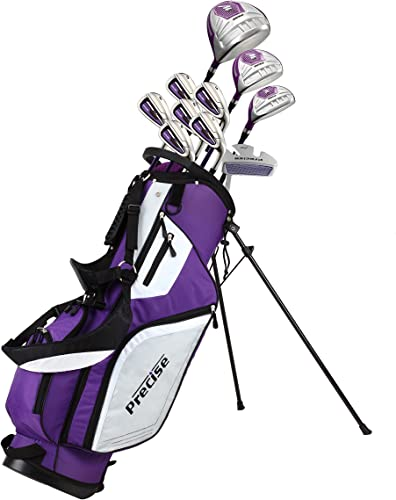 Precise M5 Ladies Womens Complete Right Handed Golf Clubs Set Includes Titanium Driver, S.S. Fairway, S.S. Hybrid, S.S. 5-PW Irons, Putter, Stand Bag, 3 H C's Purple