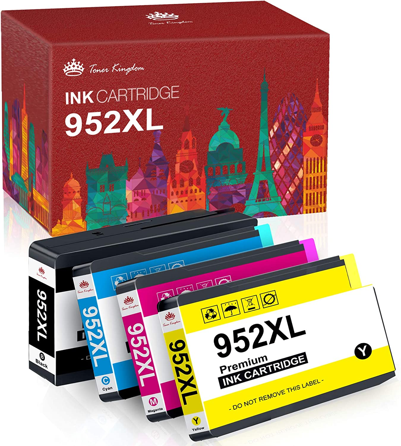 Toner Kingdom Remanufactured Ink Cartridge Replacement for HP 952 952XL to work with Officejet 8710 8720 8715 7740 7720 8740 8730 8702 8210 8216 printers (1 Cyan, 1 Magenta, 1 Yellow, 1 Black, 4-Pack)