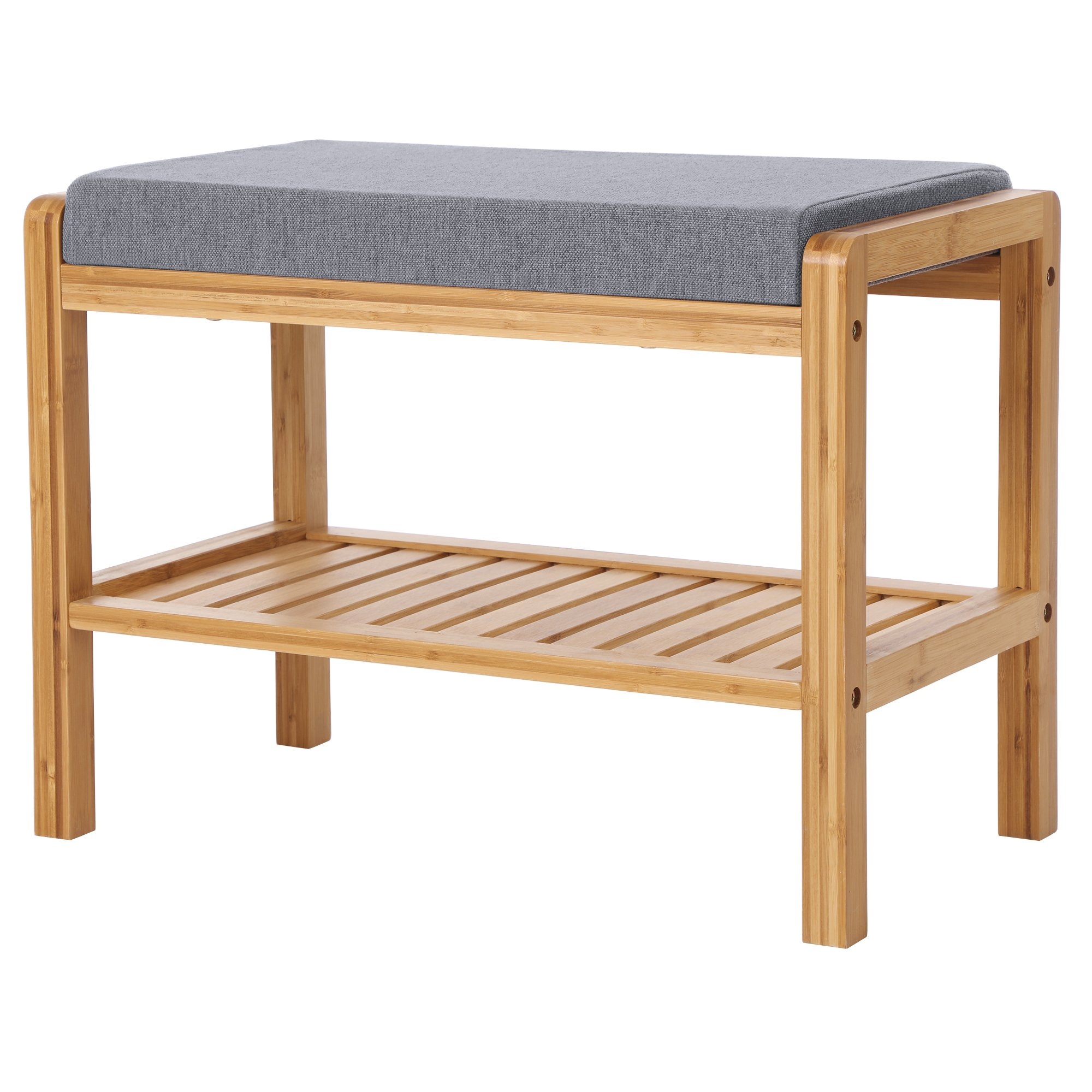 SONGMICS Bamboo Shoe Bench Rack with Upholstered Padded Seat Storage Shelf Origanizer Bench for Bedroom Living Room Hallway Front Door Entryway Foyer Garage Natural ULBS65N