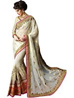 Fashion Fiza Women's Georgette Saree With Blouse Piece (279_Off White)
