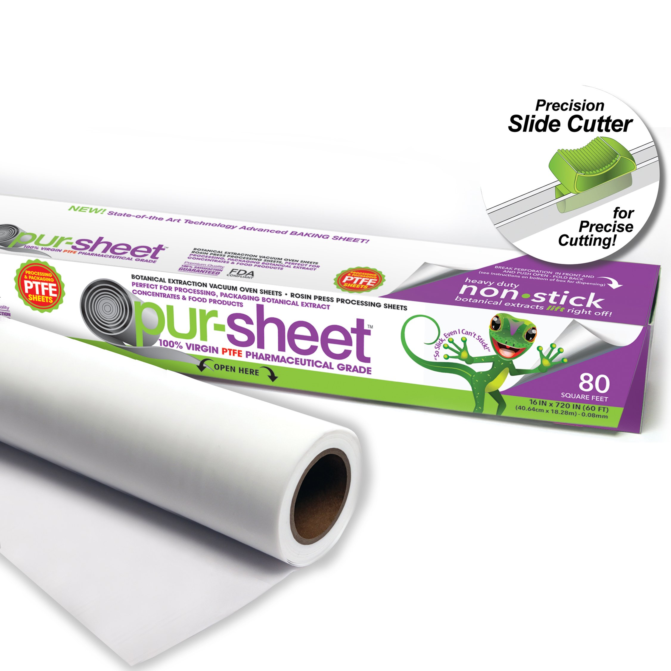 pur-sheet PTFE Parchment PaperAlternative Terpene Proof Solvent Resistant 16'' X 720'' (60') (0.08mm) rolls by pur-sheet