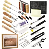 Leather Working Tools and Supplies Leather Craft Kits, Leather Sewing Kit, Leather Starter Kit with Wax Ropes, Prong Punch, A