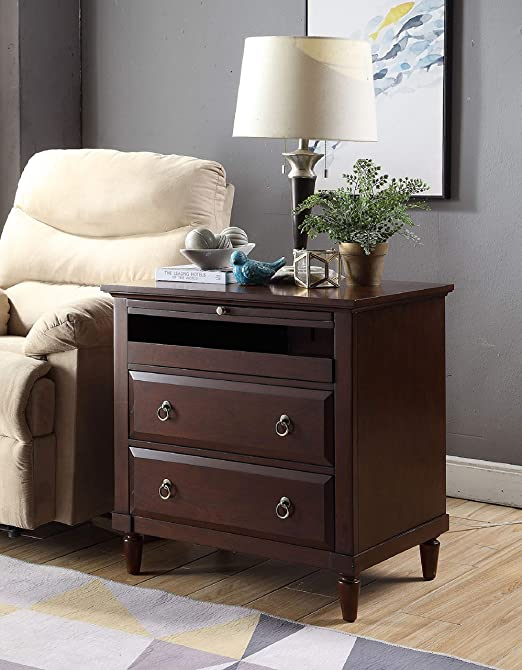 Amazon Com Madison Nightstand With Charging Station In Espresso