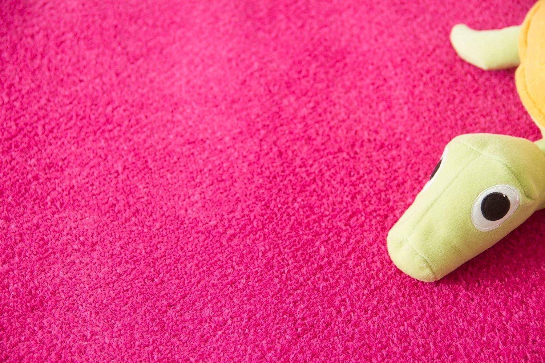 Auslegware f/ür Kinderzimmer Wohnzimmer Schlafzimmer Gr/ö/ße: 100x100 cm Steffensmeier Teppichboden Cambridge Young Meterware Pink