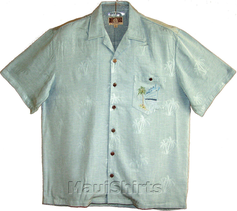 Ocean Liner Mens Hawaiian Aloha Embroidered Jacquard Rayon Shirt