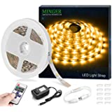 MINGER 16.4ft 12V LED Flexible Strip Light,Non-waterproof LED Tape Lights with RF Controller & Power Supply for DIY Christmas Holiday Indoor Party Home Kitchen Car Bar Decoration, Warm White