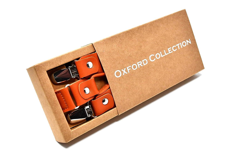 Eleganti e Moderne Oxford Collection Bretelle Grigio Antracite di alta qualit/à completamente Regolabili Classiche 4 Clip Forma di Y