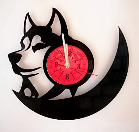 Siberian Husky Wall Clock Made from 12 inches 30 cm Vintage Vinyl Record Dog Husky Snoopy Gift for Women Boys Girls Husky Dog Lover Clock Husky Merchandise