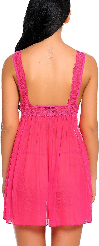 Avidlove Women Lingerie Lace Babydoll Strap Chemises V Neck Nightwear Mesh Nighties