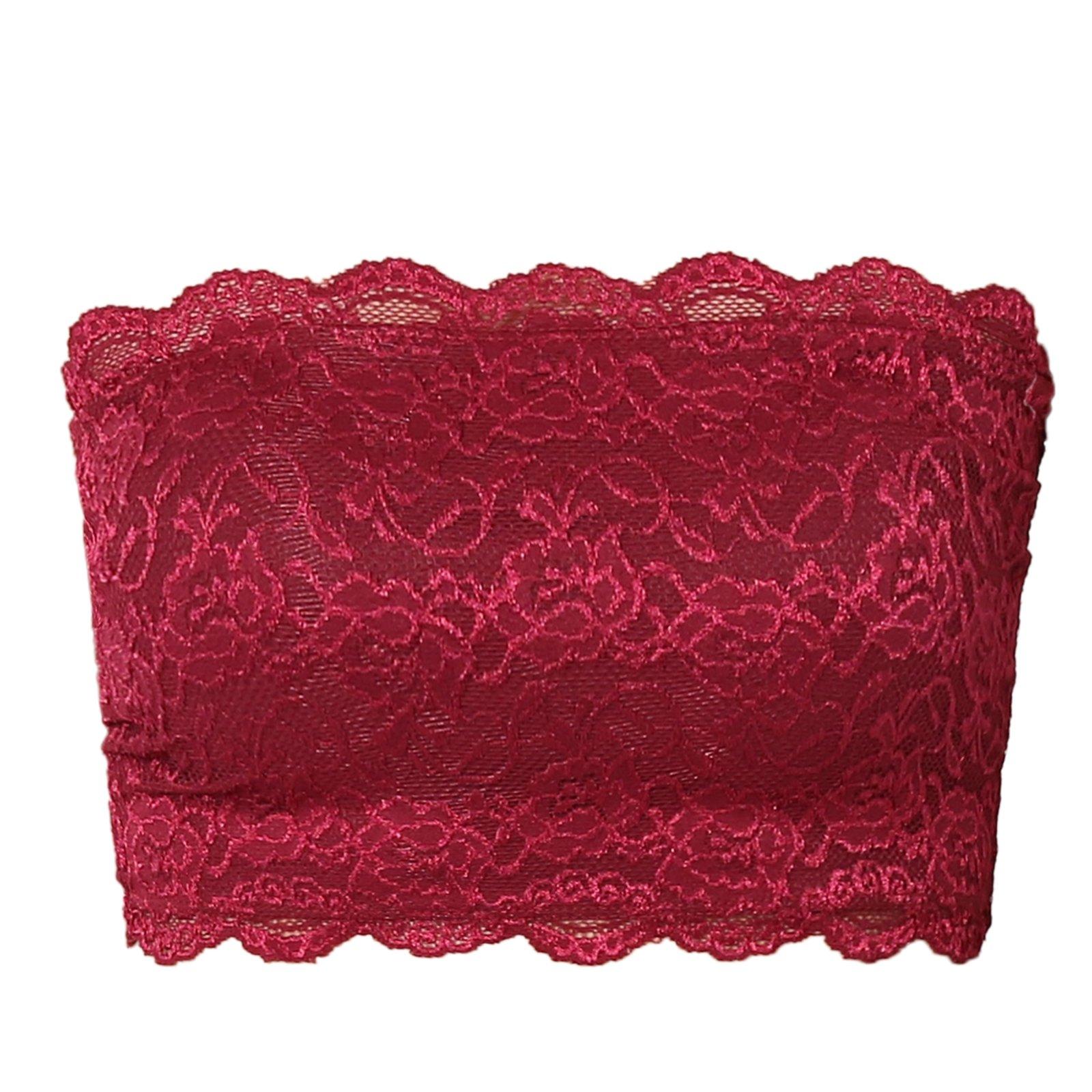369c125e7c386f TheMogan Women s Floral Lace Strapless Tube Crop Bandeau Bra Top Wine L