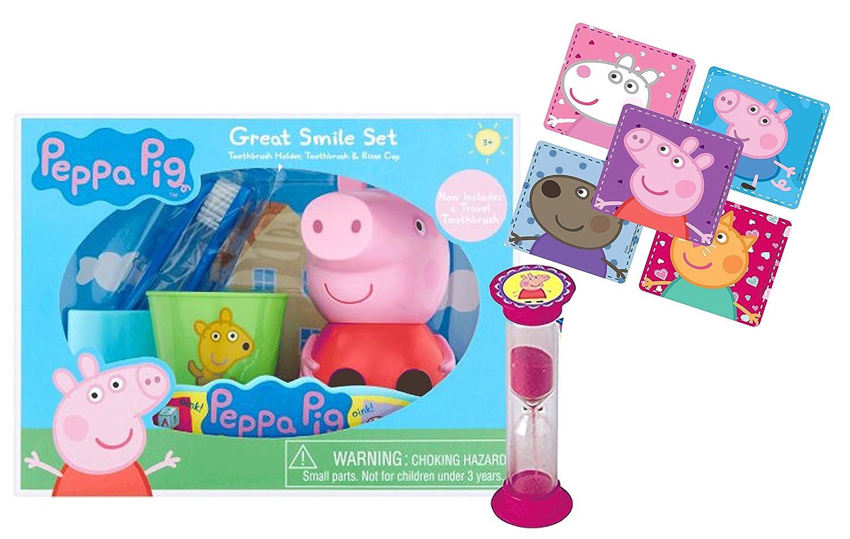 Peppa Pig Inspired 5 piezas gran sonrisa Set de regalo. Incluye cepillo de dientes cepillado, temporizador, soporte para cepillo de dientes & Enjuague Copa.