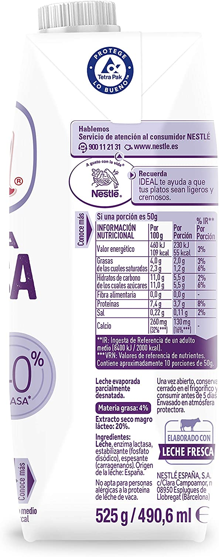 Nestlé Ideal - Leche evaporada Sin Lactosa- Caja de leche ...