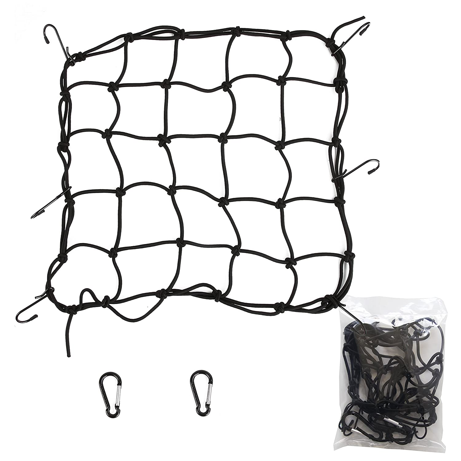 with Canopy Ties /& Bonus Cargo Net and carabiner Plastic Coated Metal Hooks FINNKARE Premium Quality Bungee Cord Assortment in portable bag- 24 Piece Set 100/% latex bungee core