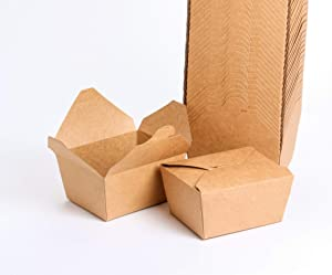 Take Out Boxes Microwaveable Kraft Brown To Go Boxes for Food Containers 27 Oz (50 Pack) Leaked and Grease Resistant Food Boxes Recyclable Unbleached and BPA Free Take Home Box for Restaurants, Weddings or Parties.