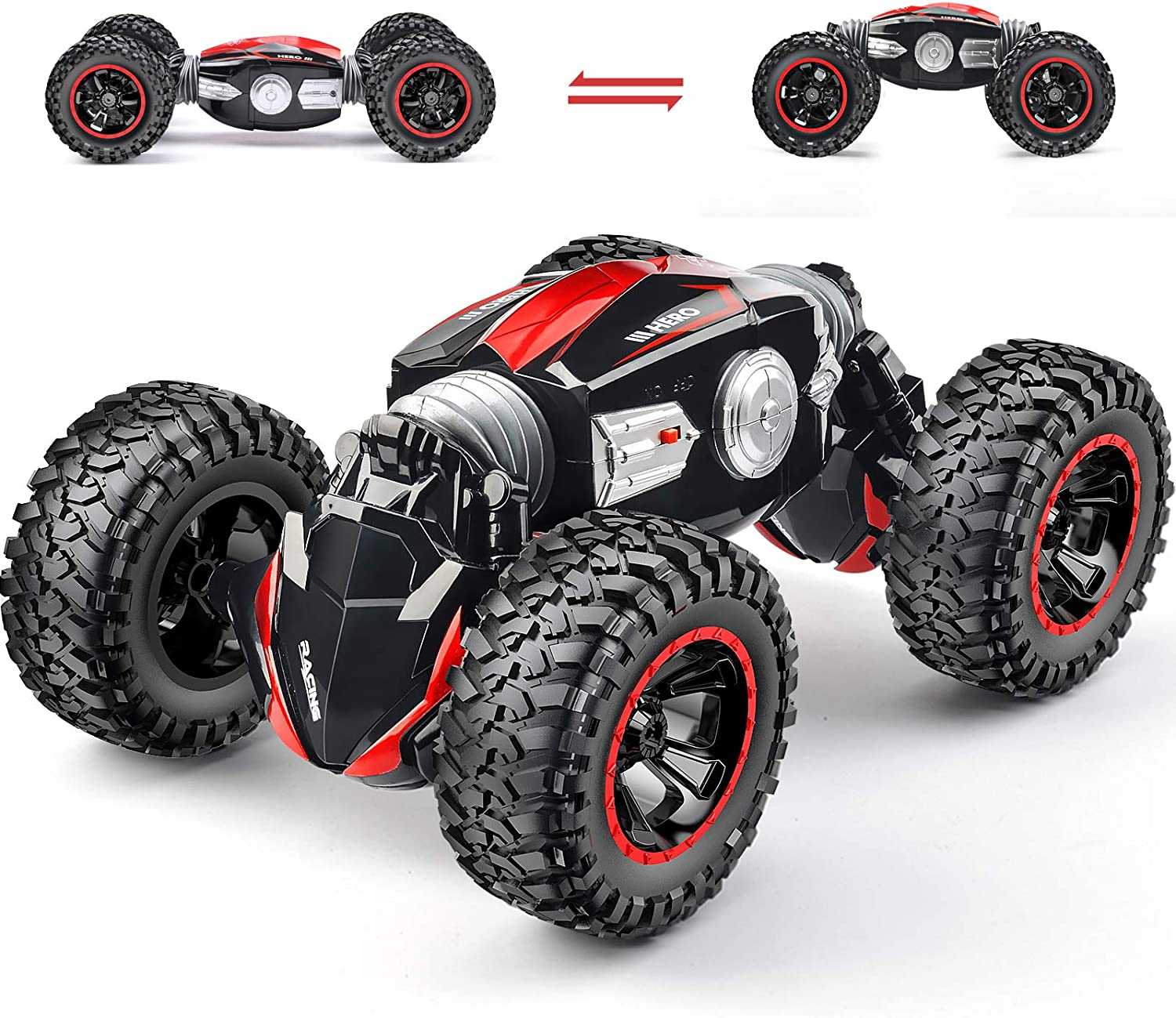 RC Car Off-Road Remote Control Car Monster Truck 4WD Dual Motors Electric Vehicles Rock Crawler 2.4Ghz RC Truck (Red): Toys & Games
