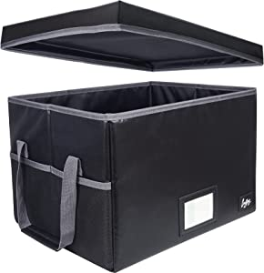 Fireproof File Organizer Box with Lid,Collapsible Document Cabinet with Handle for Letter/Legal Folder Storage,Water Resistant & Fireproof Safe Filing Cabinets for Home Office,Black