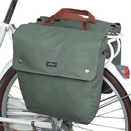 b2f6d4f67d59 TOURBON Canvas Bike Bags Rear Rack Roll-up Bicycle Panniers Waterproof