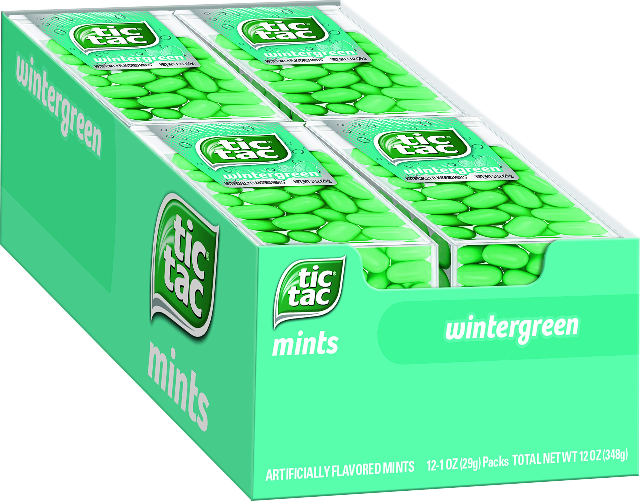 Tic Tac Fresh Breath Mints, Wintergreen, Bulk Hard Candy Mints, 1 oz Singles, 12 Count, Perfect Easter Basket Stuffers for Boys and Girls