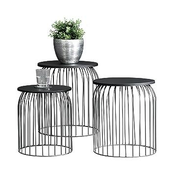 En Casa Stylischer Metallkorb Im 3er Set Design Beistelltisch