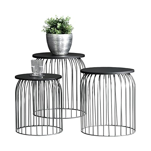 Ensa wire base side tables set of 3 dark grey amazon ensa wire base side tables set of 3 dark grey greentooth Choice Image