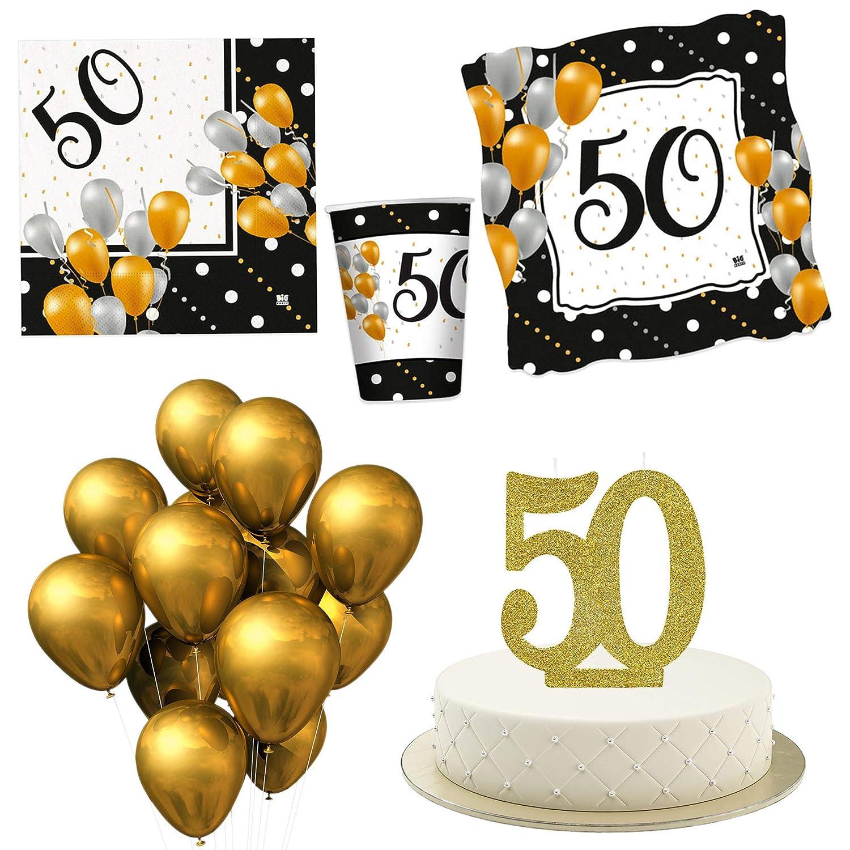 Kit de Fiesta de 50 años con Vela para Tarta. Adornos para ...