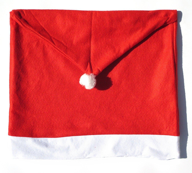 Sungpunet, set di 4coperture per sedia a forma di cappello di Babbo Natale rosso PHTL