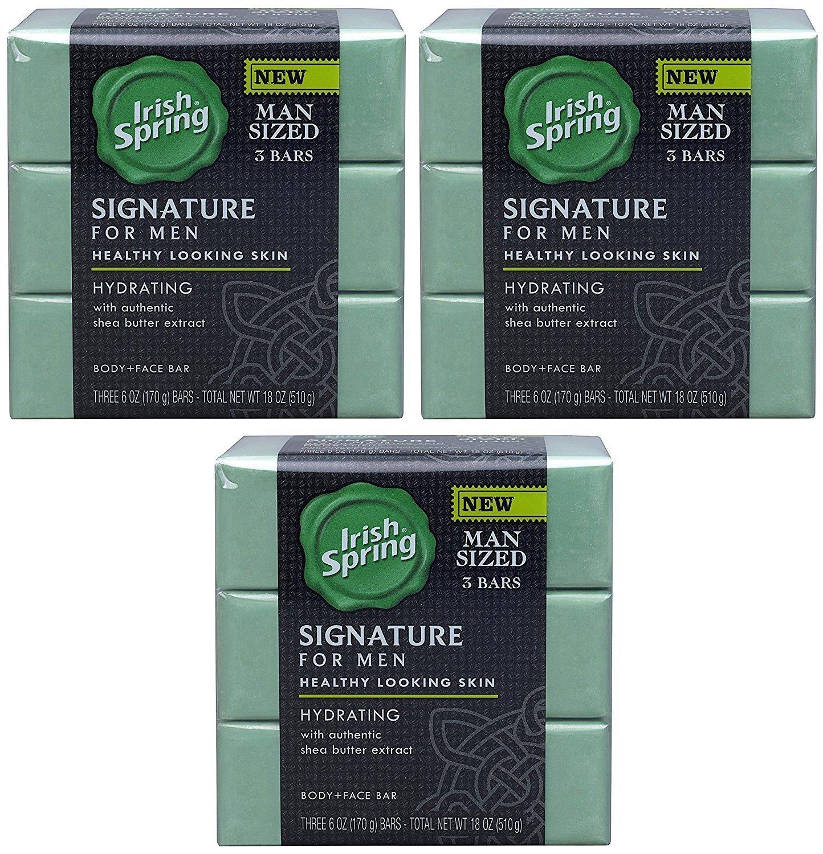 Irish Spring Signature For Men Hydrating Bar Soap, 6oz (3-Pack/total 9-Bars)