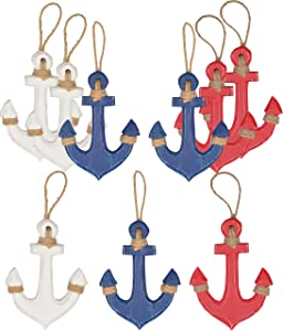 Hampton Nautical Wood Rustic Blue Red White Anchors Set, Wooden Anchor Decor, Anchor Wall Decor, Wooden Blue Red and White Anchor Home Décor, Perfect Hanging Decors for Home