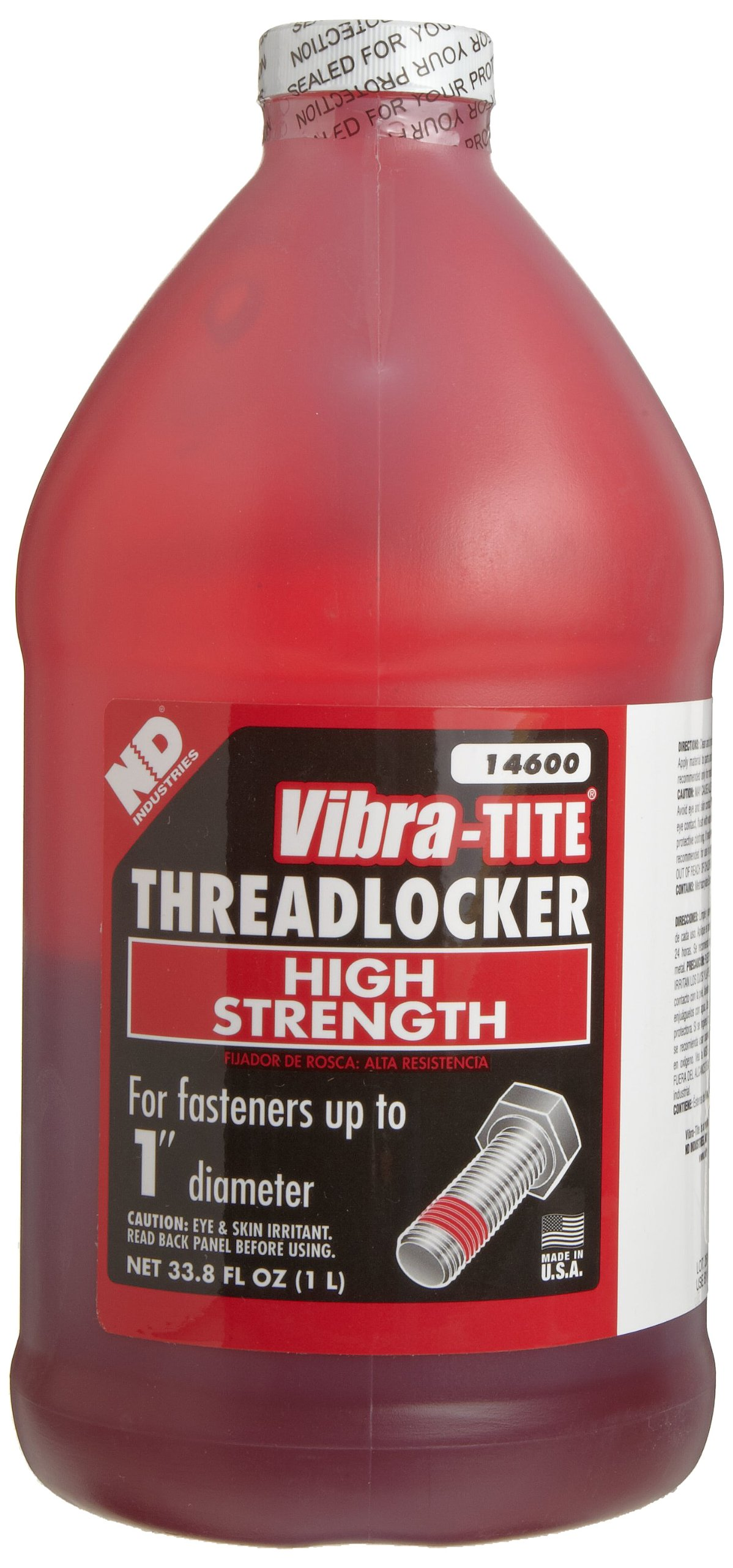 Vibra-TITE 146 Permanent Large Diameter High Strength Anaerobic Threadlocker, 1 liter Jug, Red by Vibra-TITE