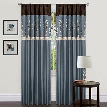 Triangle Home Fashions Lush Decor 42 Inch X 84 Cocoa Blossom Curtain
