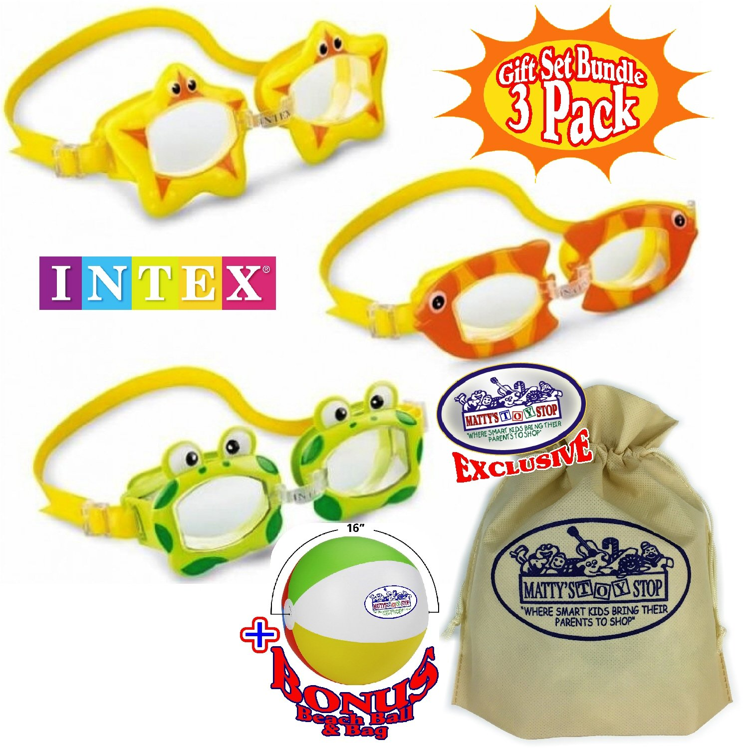 Matty's Toy Stop Aquaflow Mini Fun Swim Goggles Frog, Fish & Sea Star Gift Set Bundle with Bonus 16'' Beach Ball & Storage Bag - 3 Pack