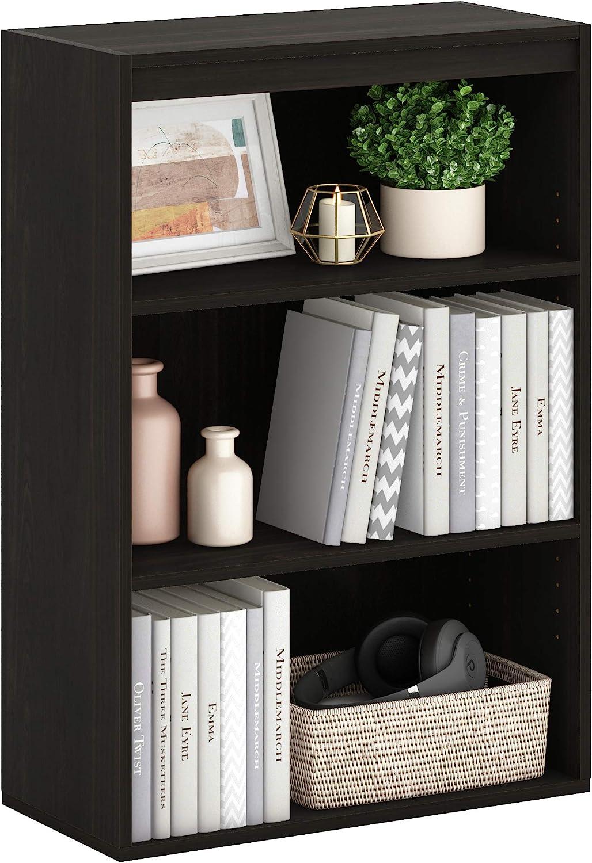 Furinno Pasir 3-Tier Open Shelf, Espresso: Furniture & Decor