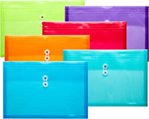 FANWU Plastic Legal Size Envelopes with String Tie Closure, 1-1/4