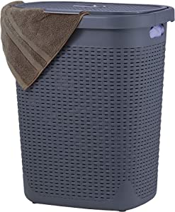 Wicker Laundry Hamper With Lid 50 Liter - Grey Laundry Basket 1.40 Bushel Durable Bin With Cutout Handles - Easy Storage Dirty Cloths in Washroom Bathroom, Or Bedroom. By Superio