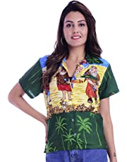 Virgin Crafts Christmas Hawaiian Shirts Womens Button Down Ladies Blouse Santa