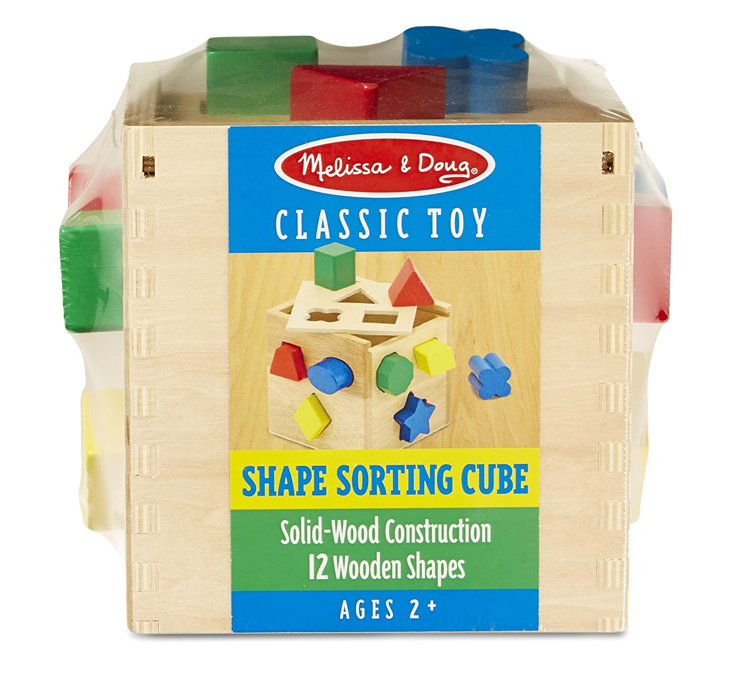 Melissa & Doug Shape Sorting Cube Classic Wooden Toy With 12