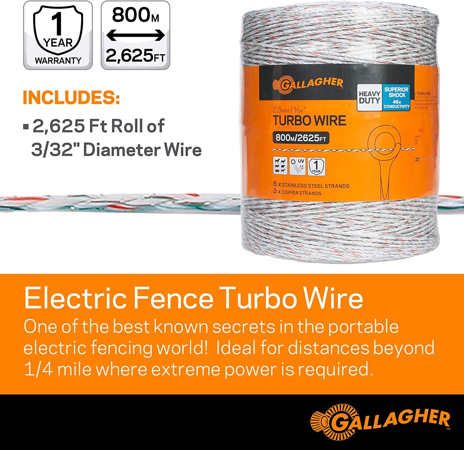 White Power Charge Electric Fence Rope 400m Horse Fencing Turbo Rope