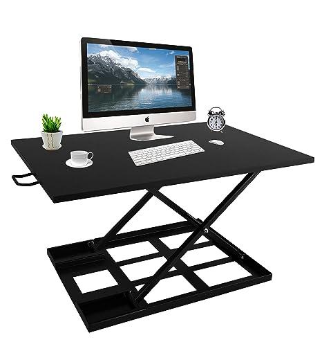 isunnao ajustable escritorio de pie – Sit stand-up escritorio convertidor con ergonómico altura Riser