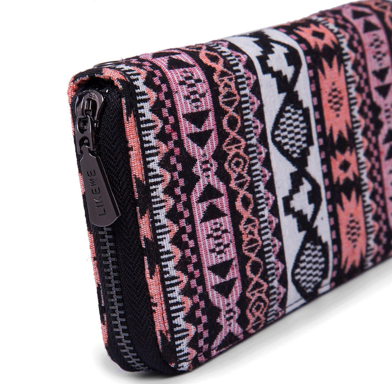 LIKEWE Women Pink Stripe Wallet Zip Around Clutch Wallet Large Travel Purse (FB-TT-168) by LIKEWE (Image #5)