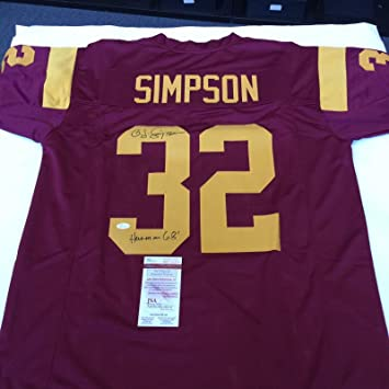 "d4dcdbaaf5d OJ Simpson""1968 Heisman"" Signed Autographed USC Trojans Jersey  With COA - JSA Certified"
