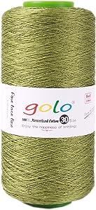 golo Crochet Thread Size 30,Crochet Cone Yarn 8.8 oz,2735 yd Tatting Yarn Crochet Yarn for Hand Knitting (Light Green)