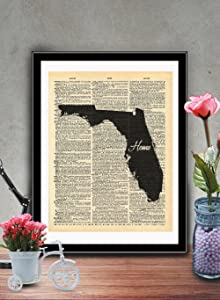 Florida State Vintage Map Vintage Dictionary Print 8x10 inch Home Vintage Art Abstract Prints Wall Art for Home Decor Wall Decorations For Living Room Bedroom Office Ready-to-Frame Home