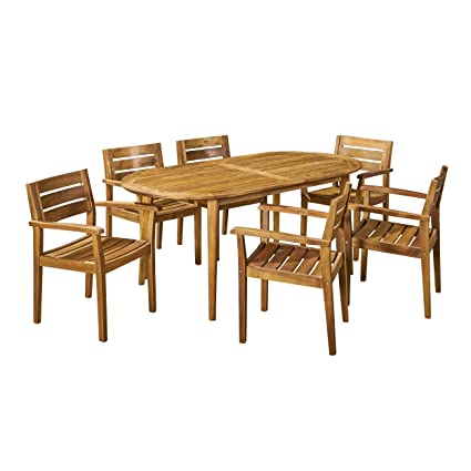 Amazon Com Great Deal Furniture Stanford Patio Dining Set 71 6