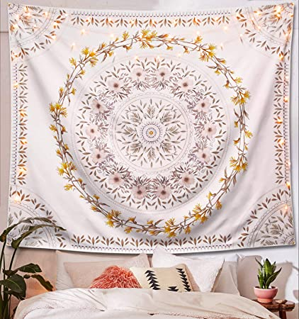 Lifeel White Bohemian Tapestry Wall Hanging, Mandala Floral Medallion  Hippie Tapestry with Light Brown Aesthetic Wreath Design, Cream Wall Decor  ...