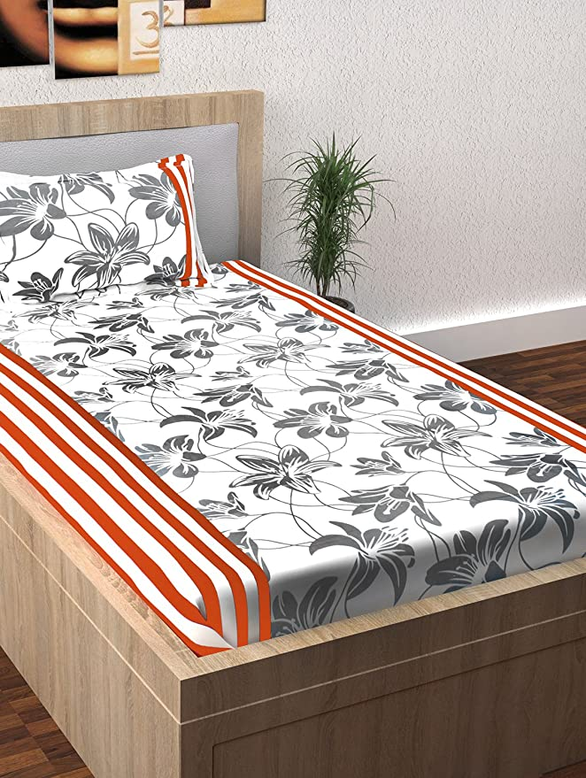 Story@Home 100% Cotton Spark Collection Floral Pattern 1 Single Bedsheet with 1 Pillow Cover   White