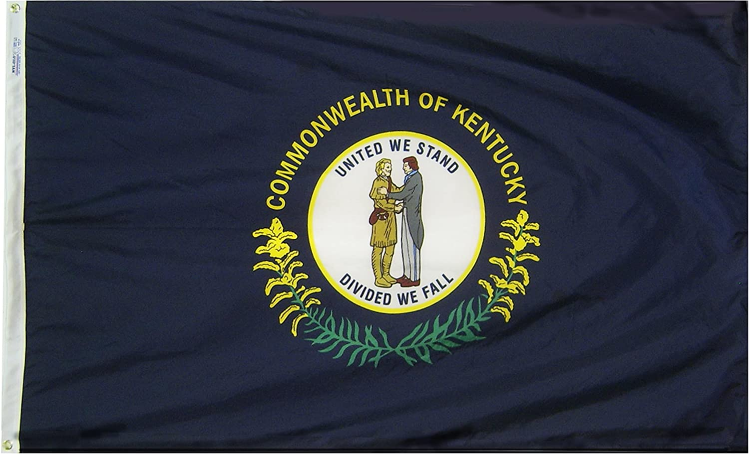 Annin Flagmakers Model 141960 Kentucky State Flag 3x5 ft. Nylon SolarGuard Nyl-Glo 100% Made in USA to Official State Design Specifications.