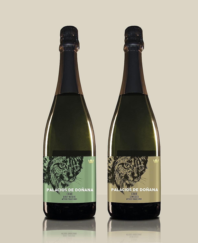 Pack 2 botellas de Cava - Cava Semiseco + Cava Brut Nature - Palacios de Doñana - D.O Condado de Huelva: Amazon.es: Alimentación y bebidas