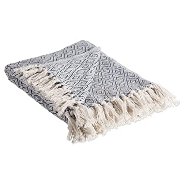 DII Rustic Farmhouse Cotton Diamond Blanket Throw with Fringe For Chair, Couch, Picnic, Camping, Beach, & Everyday Use , 50 x 60  - Fields of Diamond French Blue