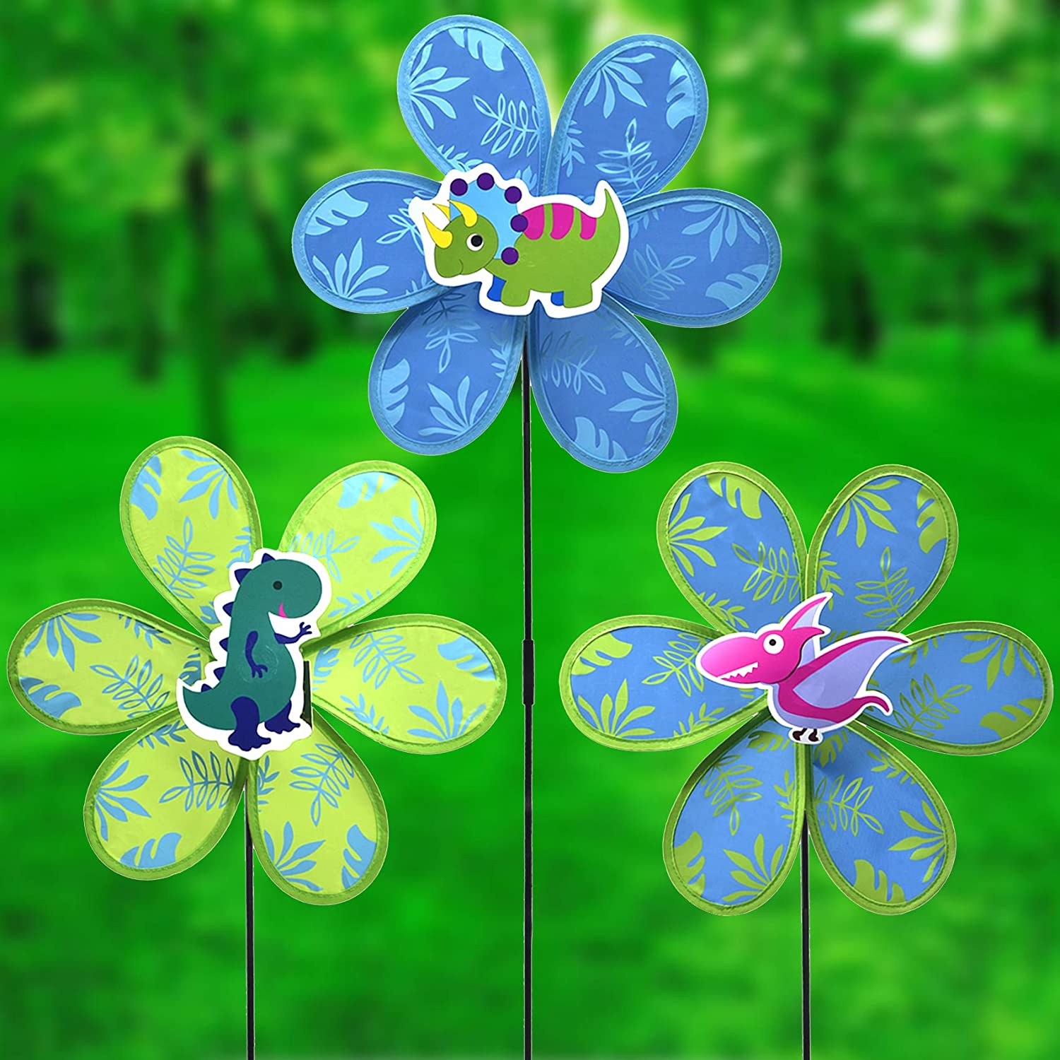 FENELY Kids Pinwheels Toys Whirligigs Wind Spinners for Garden Yard Decor Dinosaur Windmill Decorative Garden Stakes Lawn OutdoorDecorations Whimsical Baby Gifts(Set of 3)