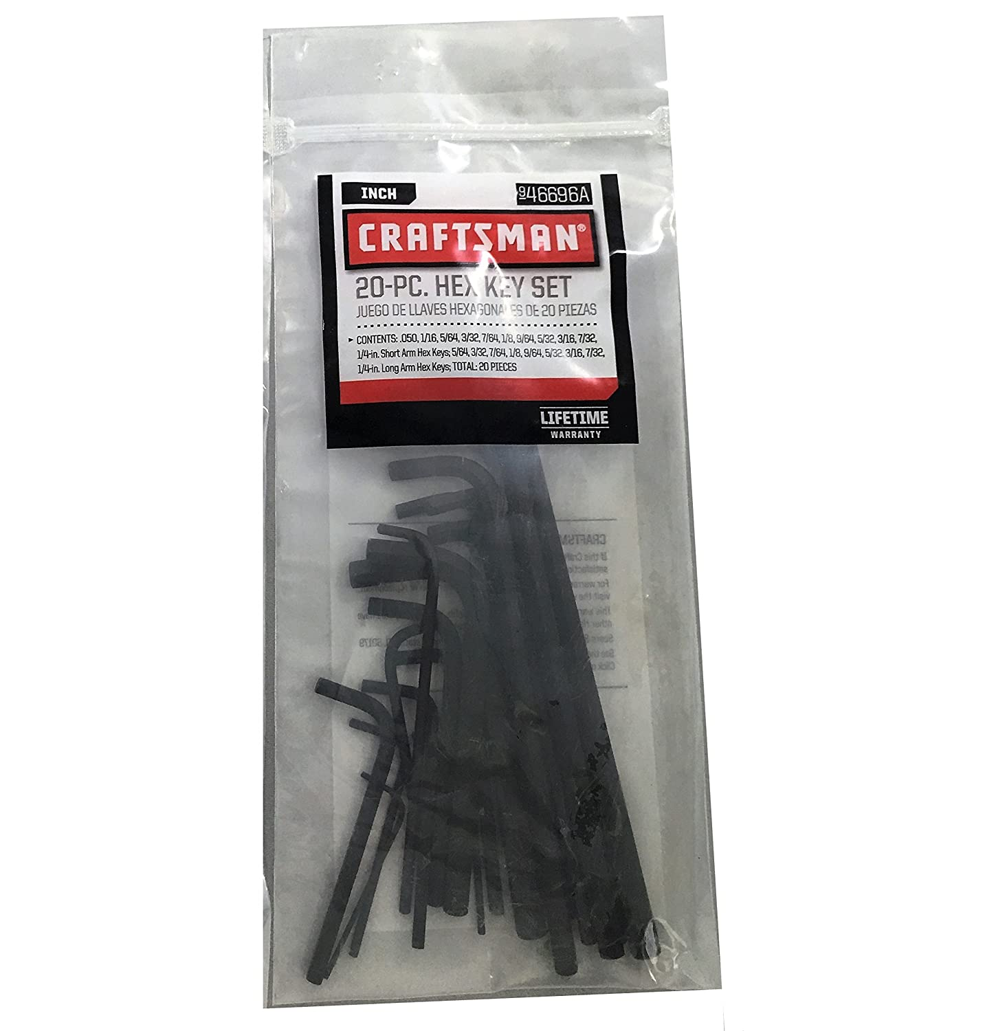 CRAFTSMAN HEX KEY 46677 WRENCH SET METRIC 20 PIECE SHORT AND LONG ARM